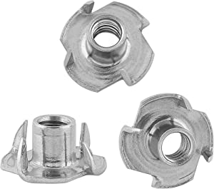 Stainless Steel 1/4 T-Nuts –4 Prong Tee Nut with 1/4-20 Threads for Indoor or Outdoor use with Furniture, Climbing Holds, or Leveling Feet (25)