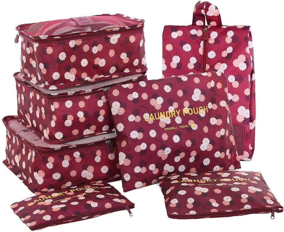 3 Pouches 3 Travel Cubes HiDay 7 Set Packing Cube Perfect Travel Packing 1 Shoes Bag