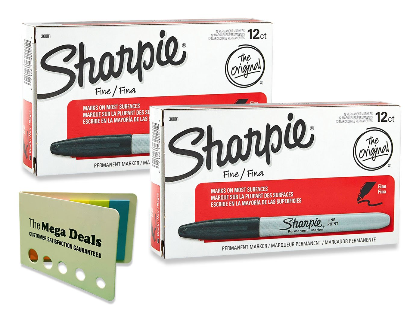 Sharpie Fine Point Permanent Markers, 24 Markers (2 X Box's of 12), Black, Includes 5 Color Flag Set