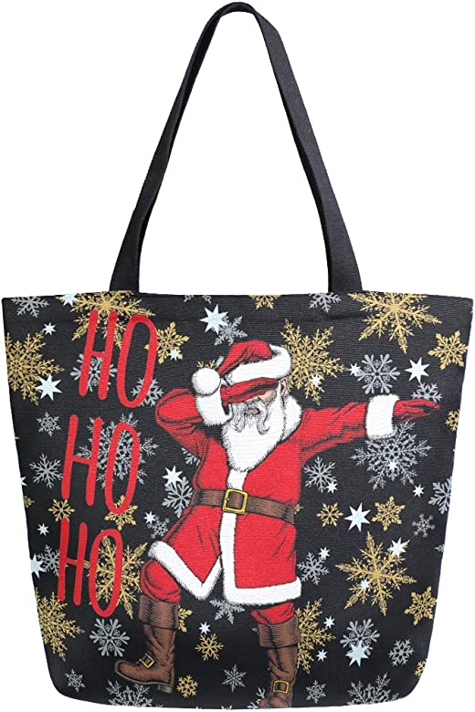 Naanle Bolsa de lona de Navidad grande para mujer, bolso de hombro ...