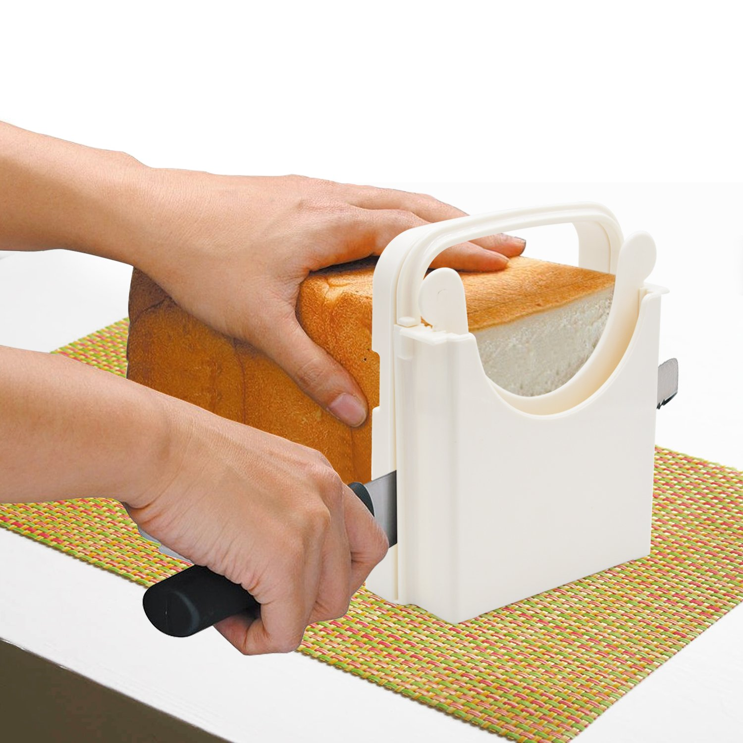 Bread Slicer Toast Slicer Yummy Sam Toast Cutting Guide Bread Toast Bagel Loaf Slicer Cutter Mold Sandwich Maker Toast Slicing Machine Folding and Adjustable with 5 Slice Thicknesses by Yummy Sam (Image #2)