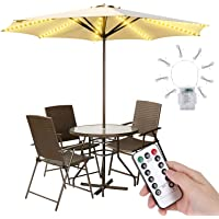 Patio Umbrella Lights 3AA Battery Operated String Light with Remote Control 8 Brightness Modes 104 LEDs Waterproof Outdoor LED Umbrella Lights for Pole Camping (Not Include Battery)