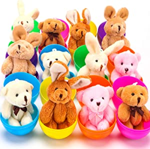 NEWBEA 12 Pack Prefilled Easter Eggs with Stuffed Animals,3.15