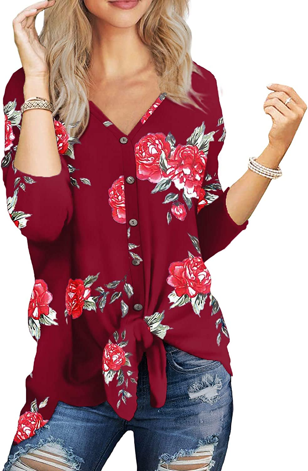 Florboom Womens V Neck Button Down T-Shirts Tie Front Knot Tops Blouse