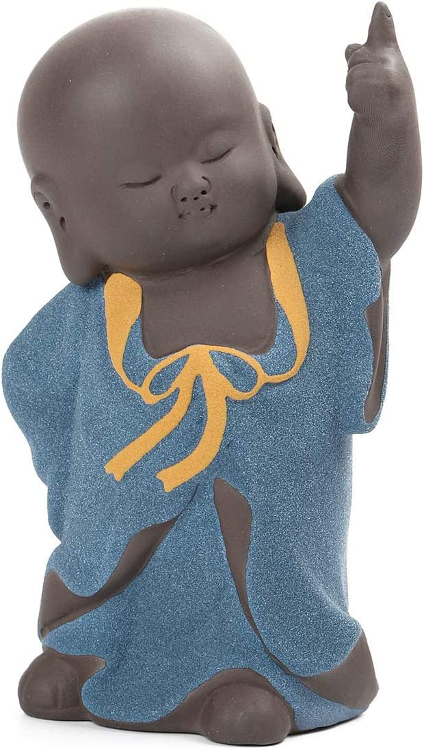 Fucsnxr Cute Little Monk Buddha Statue for Home Decor Indoor Outdoor Personalized Ornament Zen Room Office Mini Figurines Chinese Art Sculpture Tea Tray Accessories (Blue)