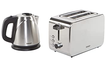 889123011a68 Igenix IGPK06 Breakfast Set, Kettle and 2 Slice Toaster - Brushed Stainless  Steel