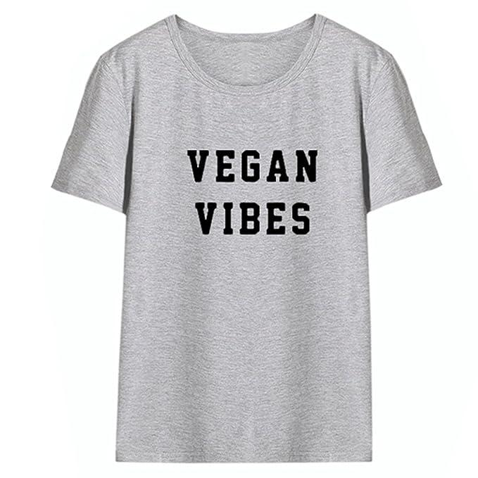 Rszfcoiugh Camiseta Vegan Vibes para Mujeres Camisetas vegetarianas saludables Camisetas sin Mangas con Cuello en V
