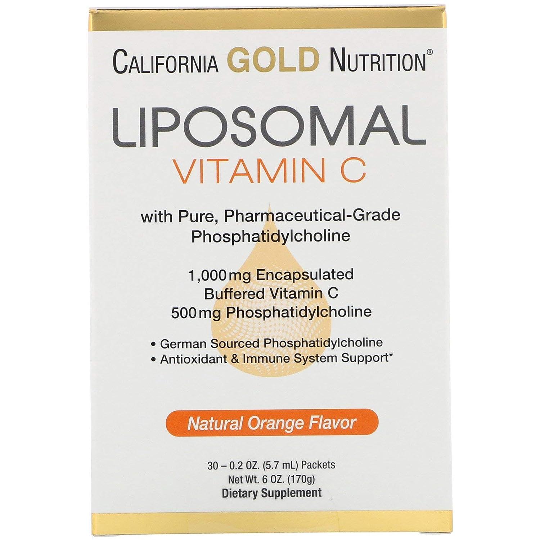 California Gold Nutrition Liposomal Vitamin C Natural Orange Flavor 1000 mg 30 Packets 0 2 oz 5 7 ml Each