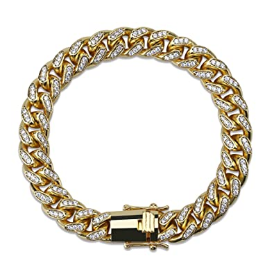 be81a5a0187 HECHUANG All Iced Out Simulated Diamond 10MM Gold Silver Plated Cuban Chain  Necklace or Bracelet (