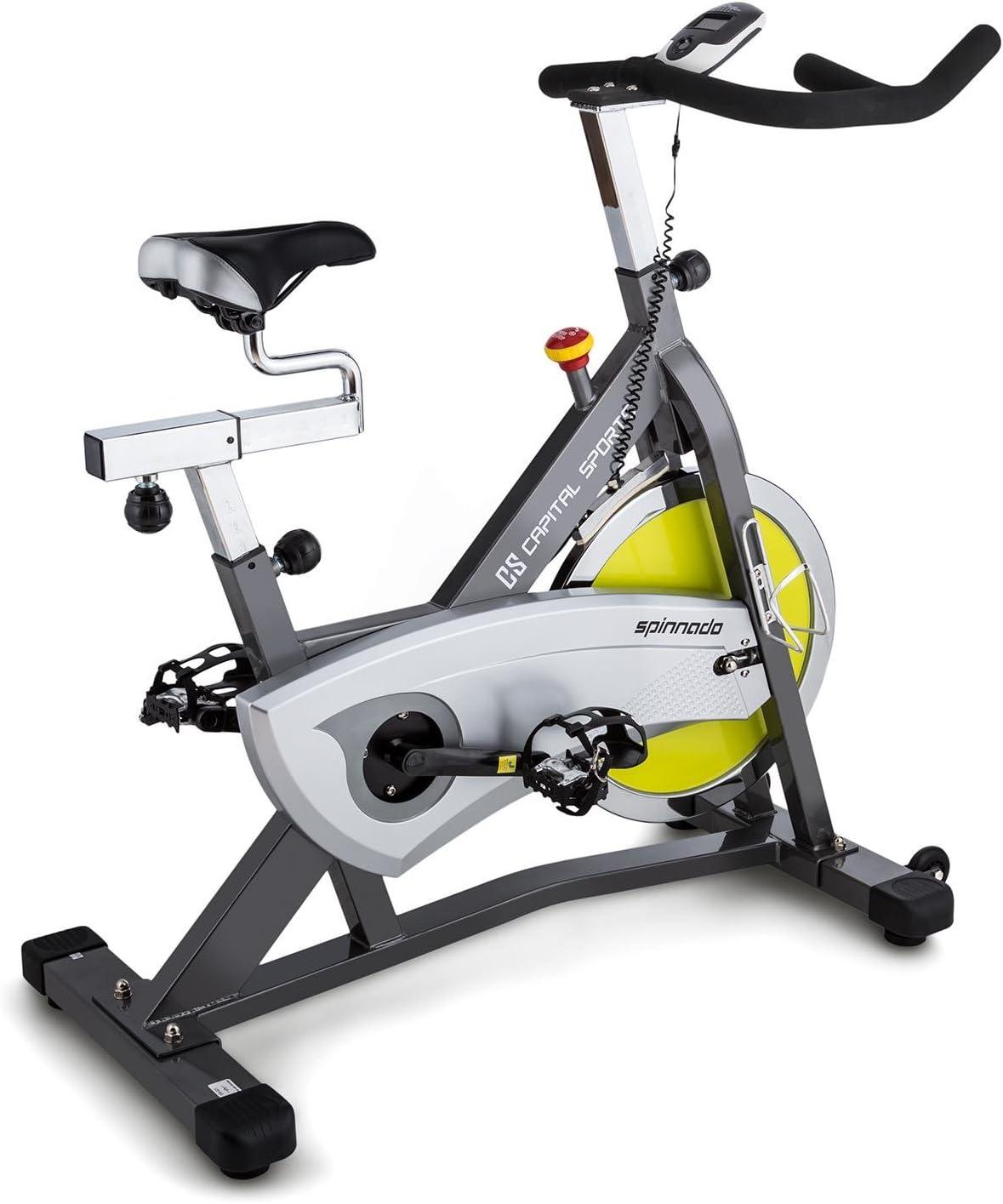 Capital Sports Ergo Bicicleta ergom/étrica 18 kg de masa oscilante, sill/ín ajustable, monitor entrenamiento, carga m/áxima 125 kg gris