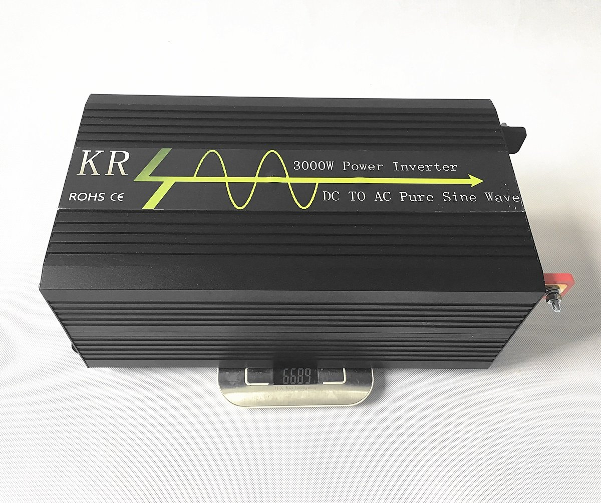 Krxny 3000w High Compact Pure Sine Wave Inverter 24v Dc Motor 12v To 220v Ac Circuit 12vdc 120vac 120v Power Converter For Home Solar System Alumimum Case Garden Outdoor