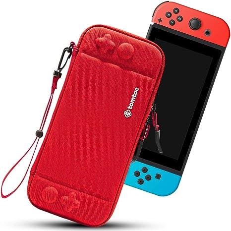 tomtoc Funda Ultra Delgada para Nintendo Switch, Patente Original Estuche Rígido con más Espacio de Almacenamiento para 10 Juegos, Case de Transporte con Proteción de Nivel Militar, Rojo: Amazon.es: Videojuegos