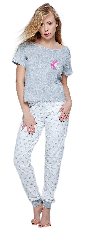 Sensis - Elegante pijama de algodón, compuesto de camiseta fina y pantalón cómodo