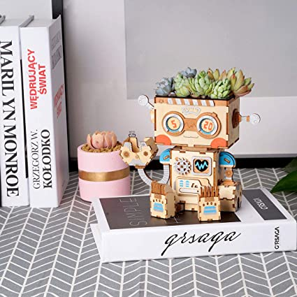 Wooden Flower Pot Robot