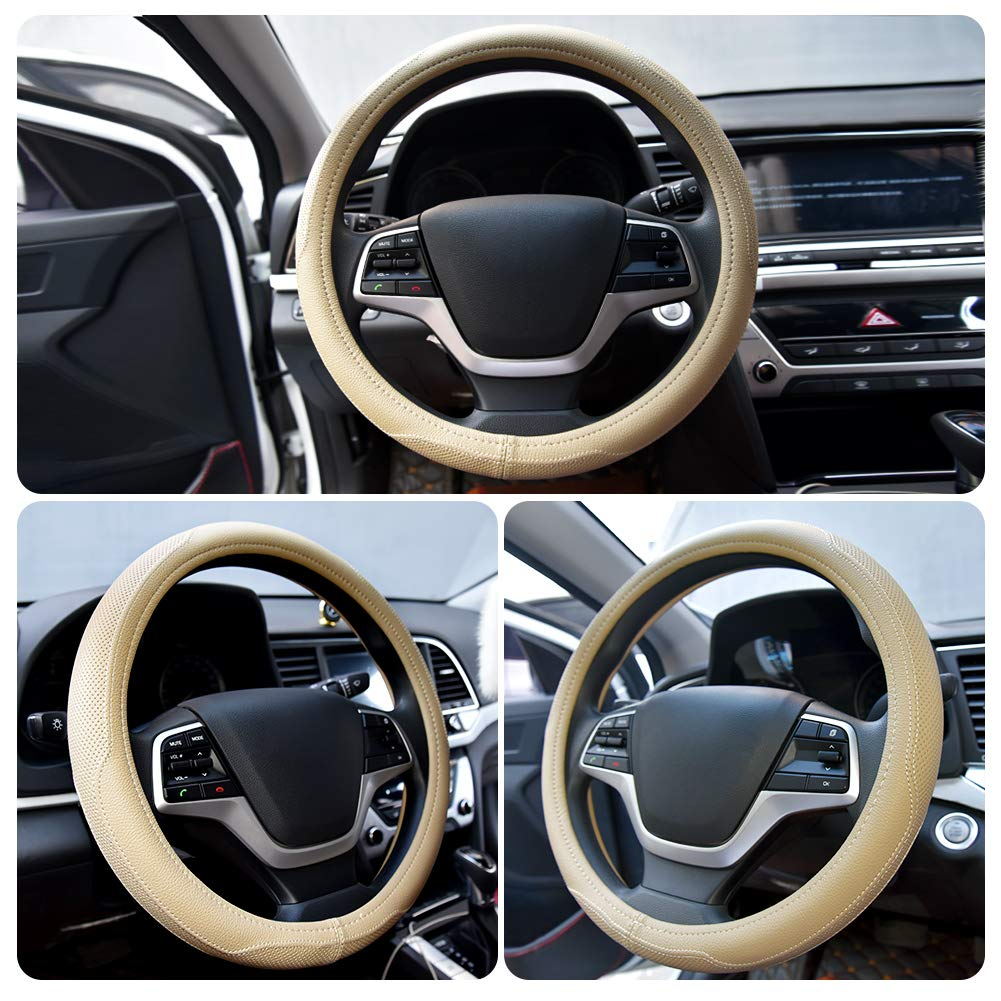 Universal 15 inch Breathable Anti Slip Auto Steering Wheel Covers Coffee Ylife Microfiber Leather Car Steering Wheel Cover