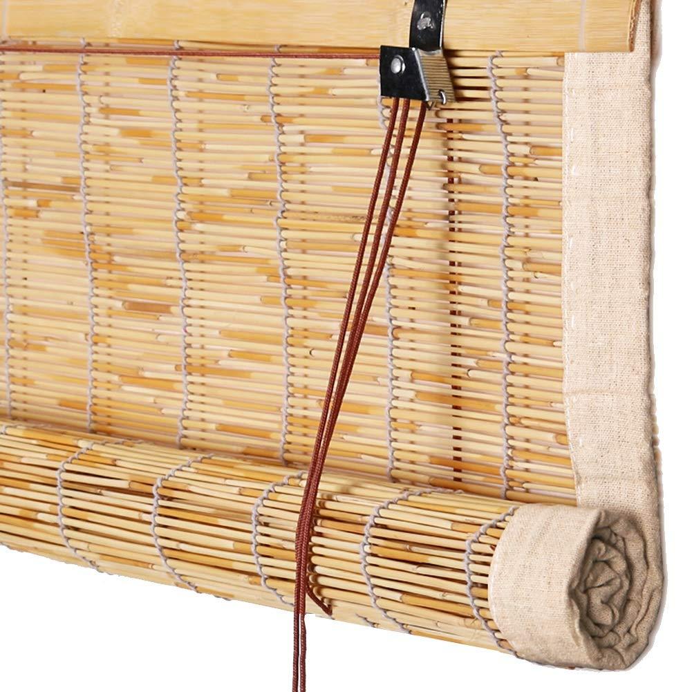 PENGFEI 竹すだれ バンブーカーテン バルコニー 日よけカーテン 防塵、 リネンの縁取り、 3色、 サイズカスタマイズ (色 : B, サイズ さいず : 110x220CM) 110x220CM B B07Q22MG6D