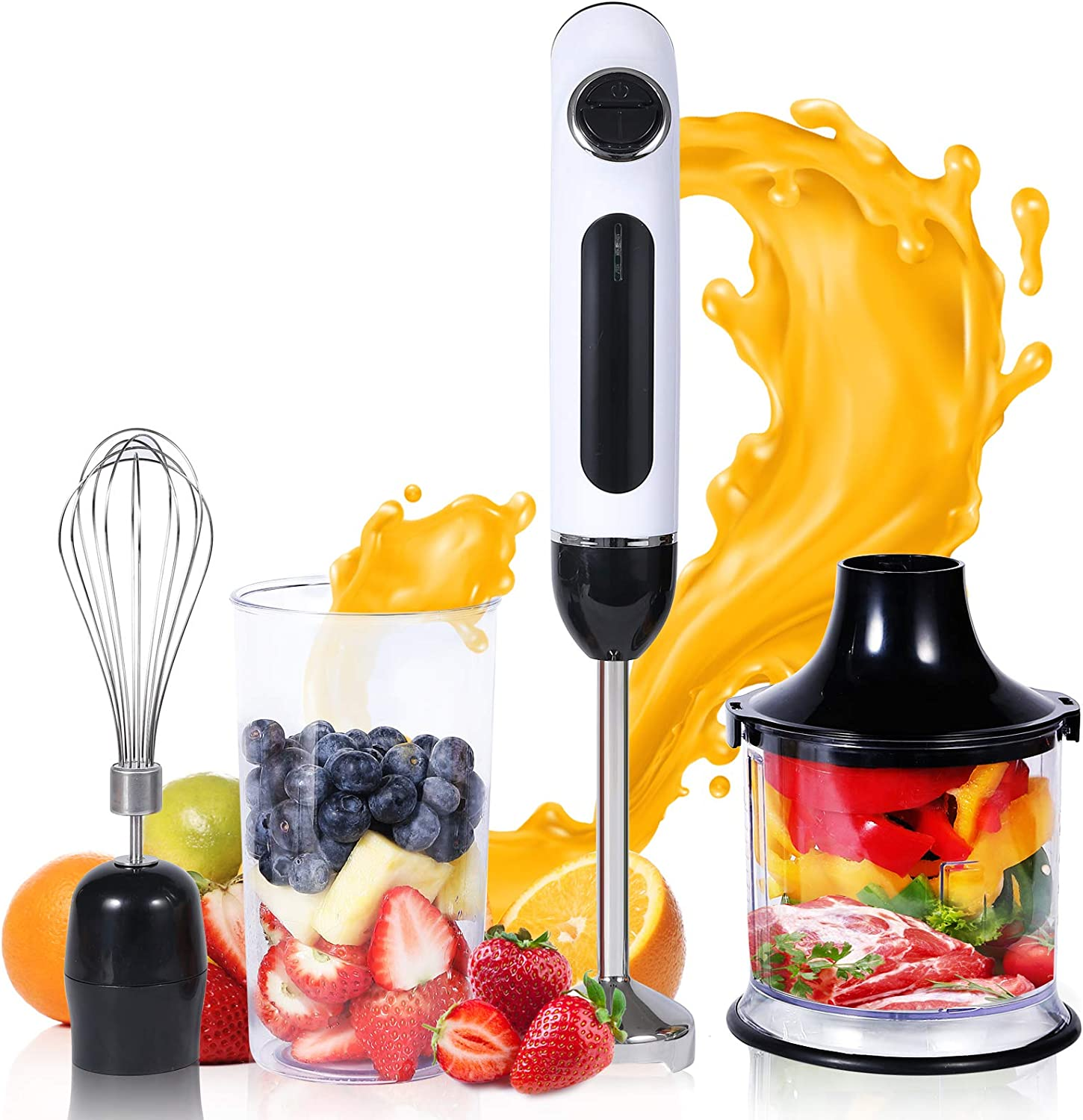 Cordless Hand Blender USB Rechargeable, 4-in-1 Immersion Hand Blender with Sturdy Titanium Plated Stainless Steel Blades, Including 500ml Chopper, 600ml Beaker and Whisk, BPA-Free and Dishwasher Safe
