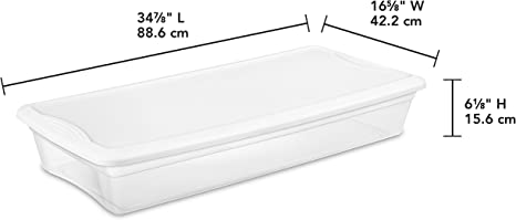 Storage Box Under The Bed Clothes Organizer Containers White 41Qt//39 L Case of 6