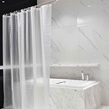 Yisent Shower Curtain Translucent Liner EVA Double Waterproof Bathroom With 12 Hooks