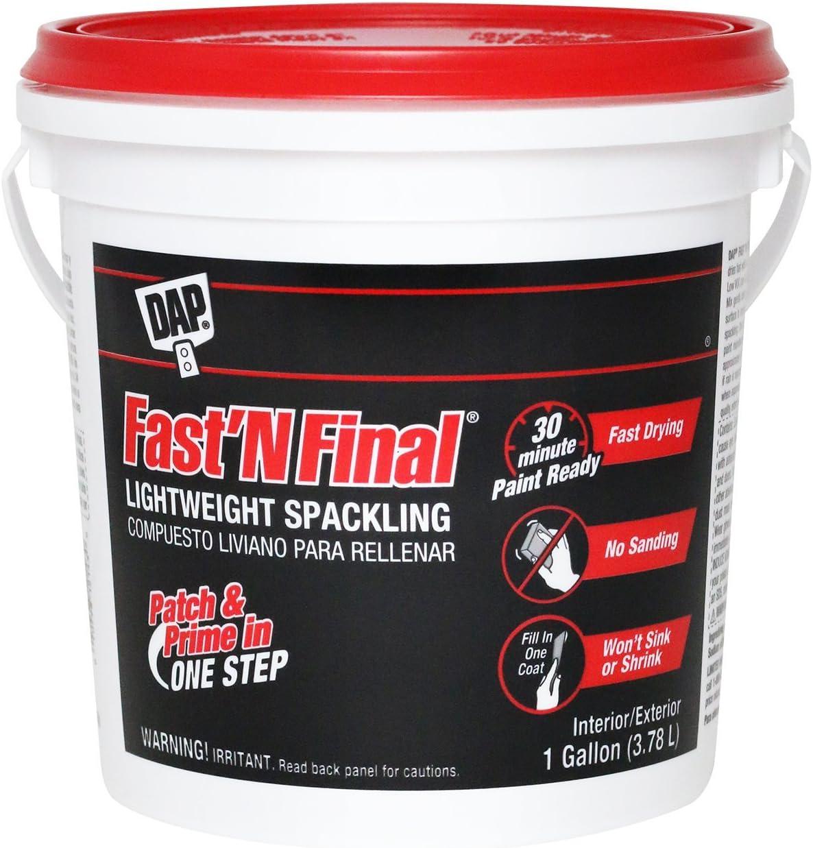 DAP 12143 Fast'N Final, 1gal, White Lightweight Spackling, 1 gal