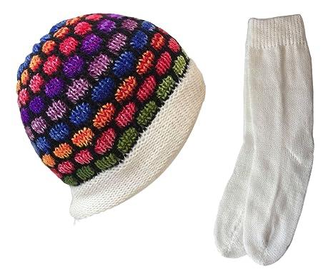 aa25316ed NEW Rainbow Alpaca Wool Beanie Cap & Socks Set Hand Made Peru Winter ...
