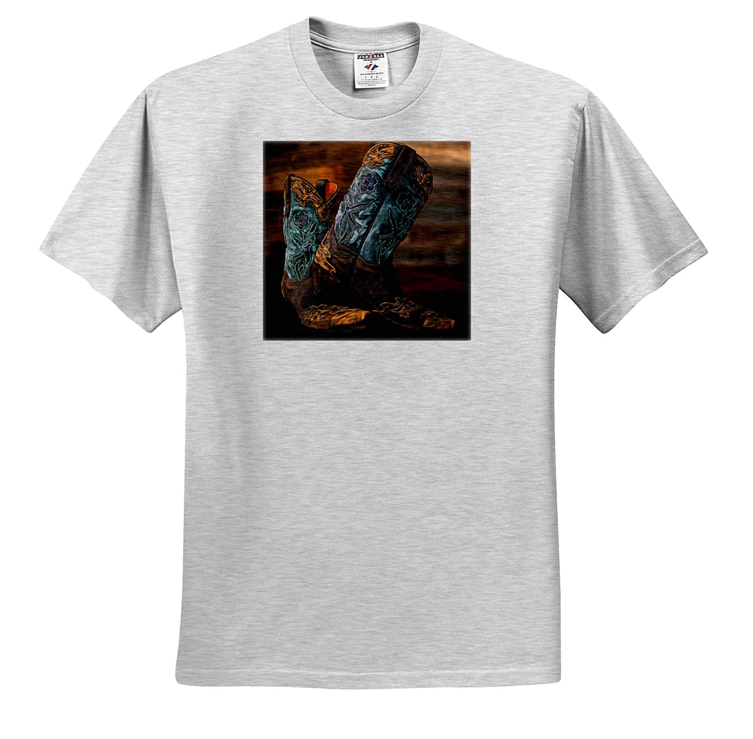 - T-Shirts Photograph of a Pair of Cowgirl Boots Against a Rustic Wood Wall Fashion 3dRose Stamp City