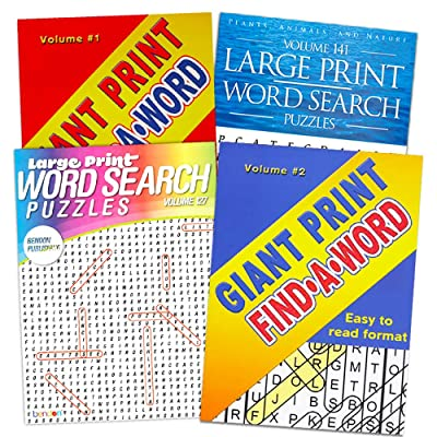 Word Find Puzzle Books for Adults Seniors - Set of 4 Jumbo Word Search Books with Large Print (Over 380 Pages Total): Home & Kitchen