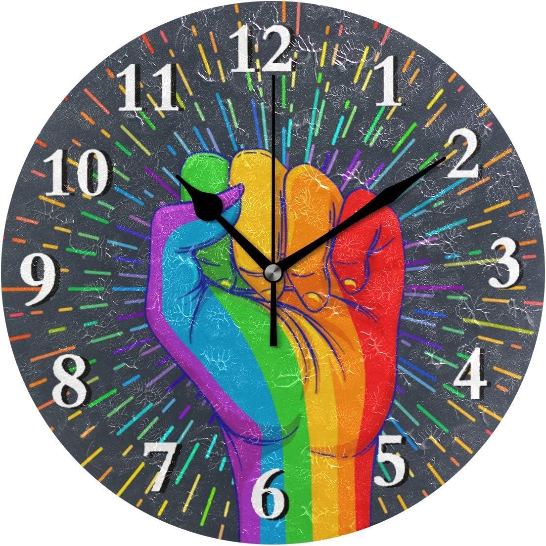 Reloj de pared iRoad Rainbow Victory Gesture sin tictac, silencioso, para cocina, sala de estar, dormitorio, oficina, escuela, redondo, funciona con pilas, reloj de pared, Puntero negro., talla única