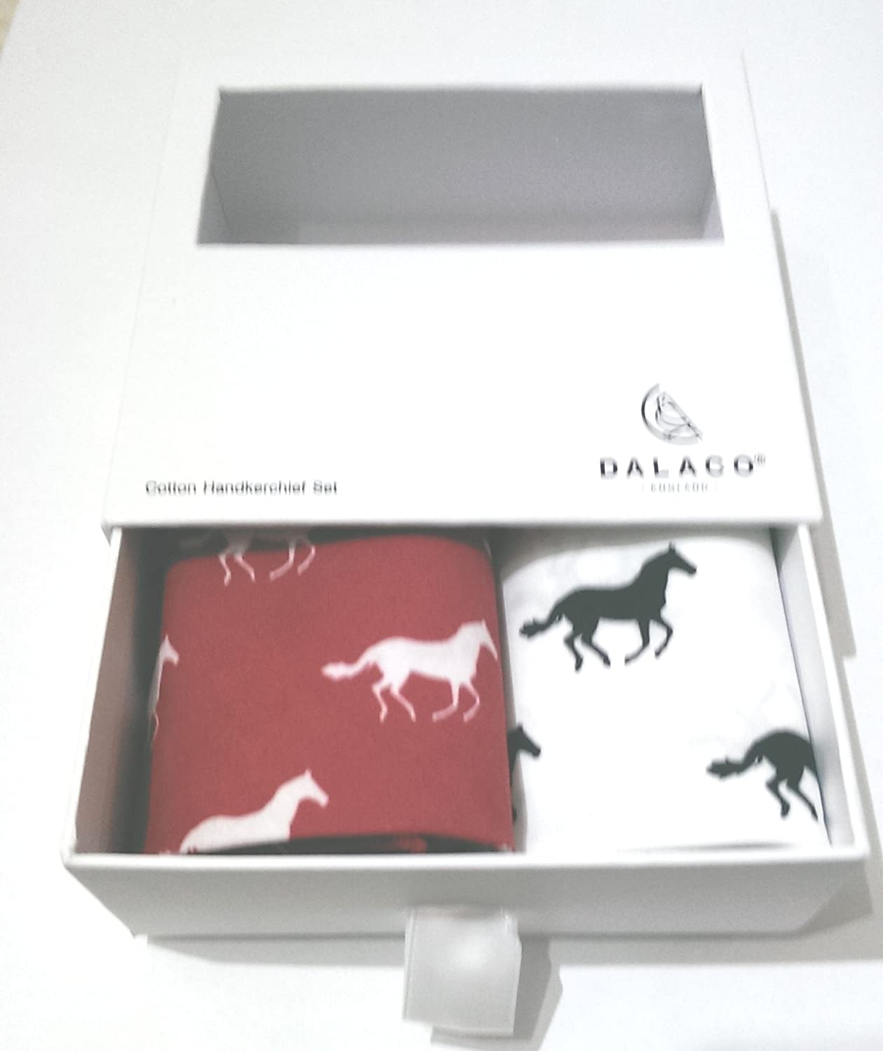 Set of 2 cotton handkerchiefs in a lovely drawer box, one each of red and white - with prints of horses galloping Farm Cottage Brands