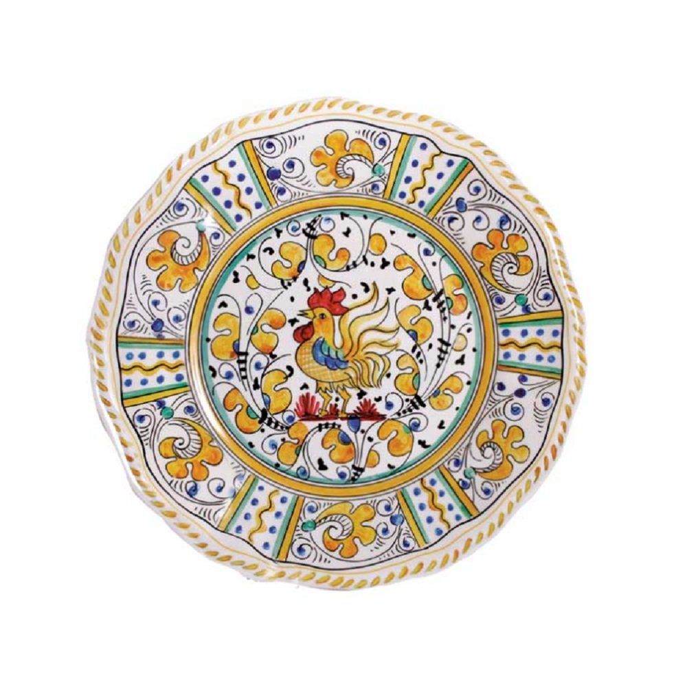 Le Cadeaux Rooster Salad Plate, 9'', Yellow