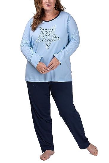 Moonline Damen Schlafanzug in großen Größen (Übergröße XL 4XL) mit Motivdruck 'Dreams Come True Plus