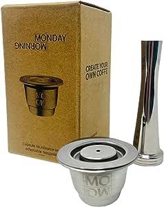 Monday Morning - Cápsula reutilizable de acero inoxidable compatible con Nespresso (1 cápsula + 1 almohada)