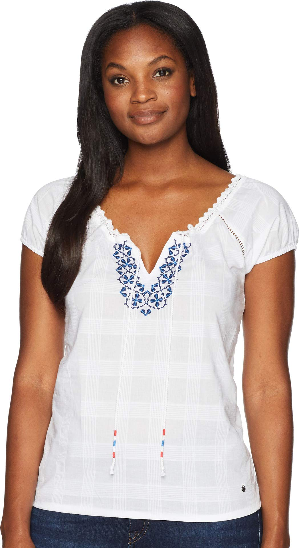 U.S. Polo Assn. Women's Short Sleeve Fashion Blouse, Optic White-Fgll, S by U.S. Polo Assn.