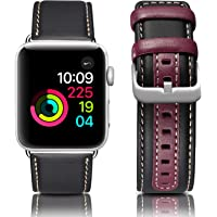ESeekGo Genuine Leather Replacement Strap Wristband Compatible with Apple Watch Series 4/3/2/1 Edition Sport