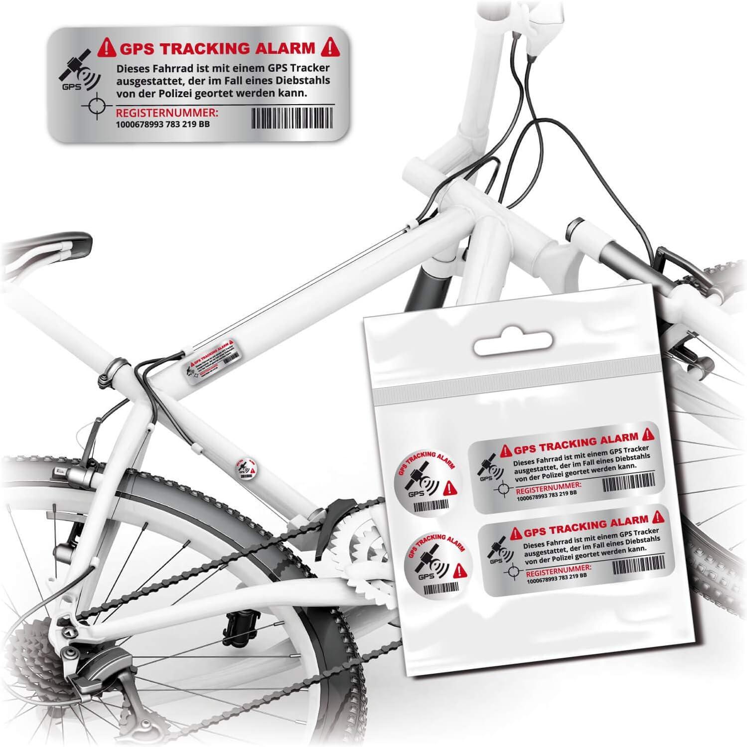 GPS Tracking Bike Aufkleber SECURITY4 StückChrom DruckFahrradaufkleber