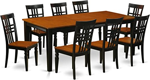 QULG9-BCH-W 9 PC Table set with a Dining Table and 8 Dining Chairs in Black and Cherry