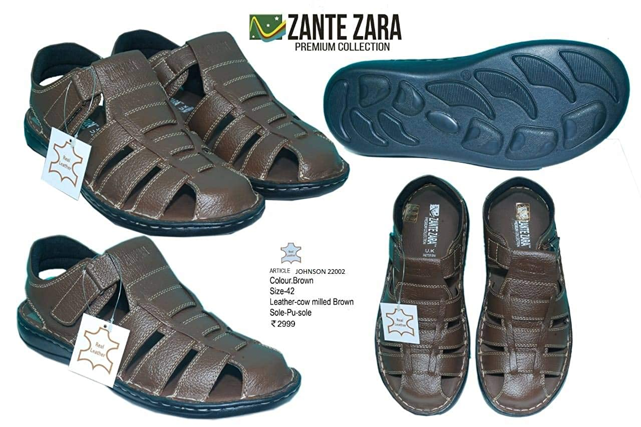 29eb668d6926 ZANTE ZARA Brown-Johnson 22002 Men Brown Leather Sandal  Buy Online at Low  Prices in India - Amazon.in