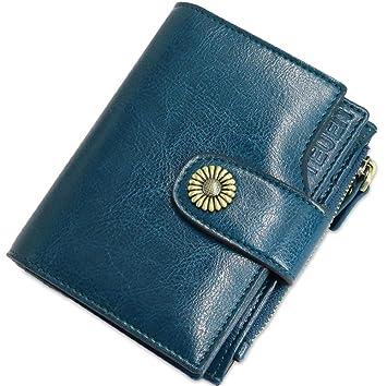 TEUEN Cartera Mujer Cuero Autentico con Bloqueo RFID Billetera Mujer Piel Pequeña con Cremallera, Carteras