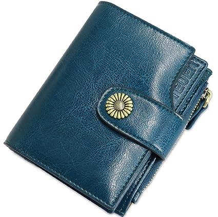 TEUEN Cartera Mujer Cuero Autentico con Bloqueo RFID Billetera Mujer Piel Pequeña con Cremallera, Carteras con Monedero para Mujeres con 12 Tarjetas, ...