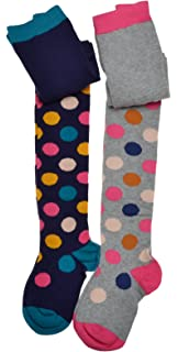 23dad0189 2 pairs of Girls Spotty Tights - Cotton - Variety of sizes
