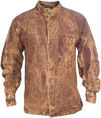 Gheri De los Hombres Grueso Lavado a la Piedra Abotonar Oscuro Casual Camisa Tops Granate Small
