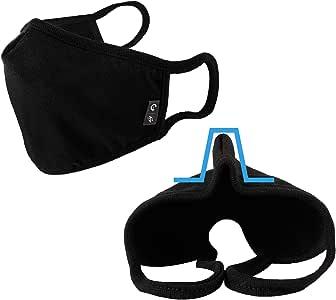 Cotton Face Bandana Dustproof Facial UV Protective Multiple Layers Cover Reusable Washable Black for Women Men EU0301 (2PCS)