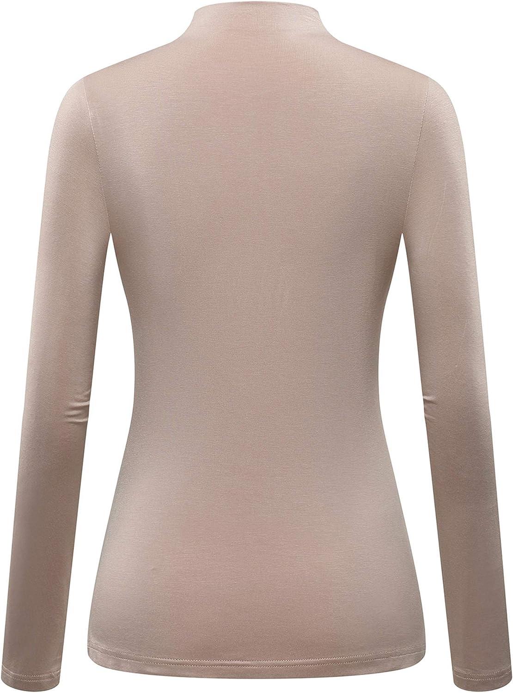 MSBASIC T-Shirt /à Manches Longues sous Pull Extensible Col Roul/é pour Femme