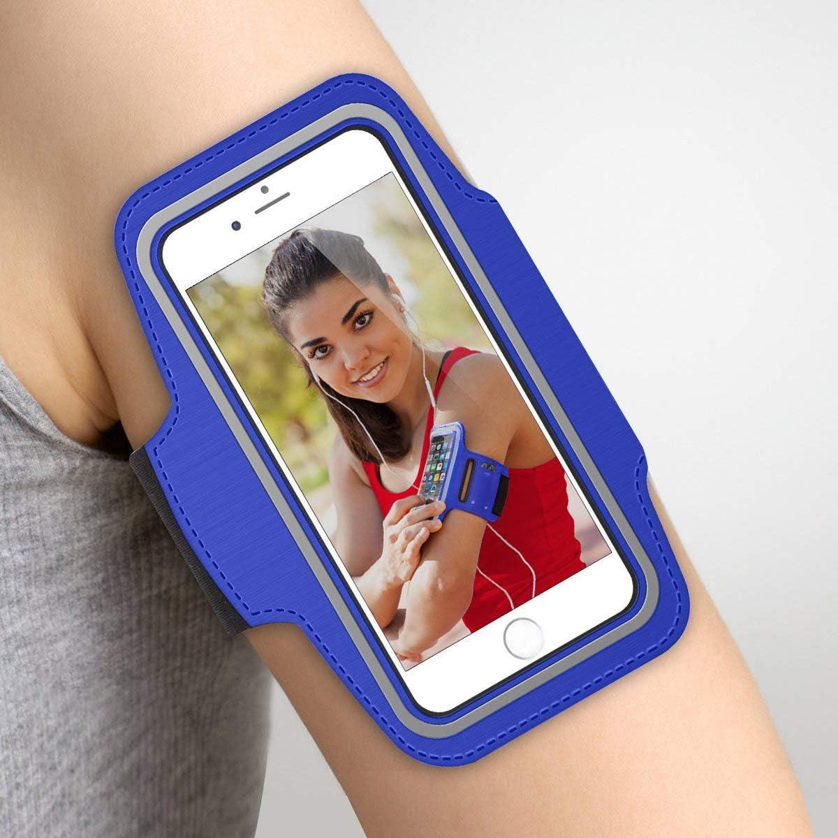 Azul Brazalete Deportivo iPhone X de Neopreno Antideslizante antisudor con Bolsillo para Llaves Cable Tarjetas Brazalete Running iPhone X Brazalete para iPhone X
