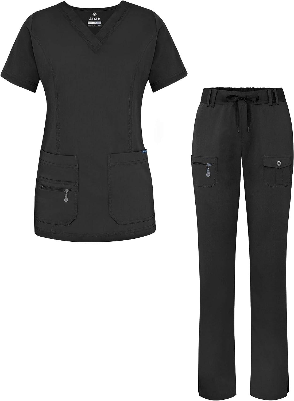Adar Pro Breakthrough Plus Scrub Set for Women - Enhanced V-Neck Top & Multi Pocket Pants: Clothing