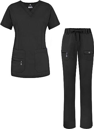 Amazon Com Adar Pro Conjunto Para Mujer Parte Superior Con Cuello En V Y Pantalones Con Multiples Bolsillos Para Trabajo Para Sanitarios Clothing