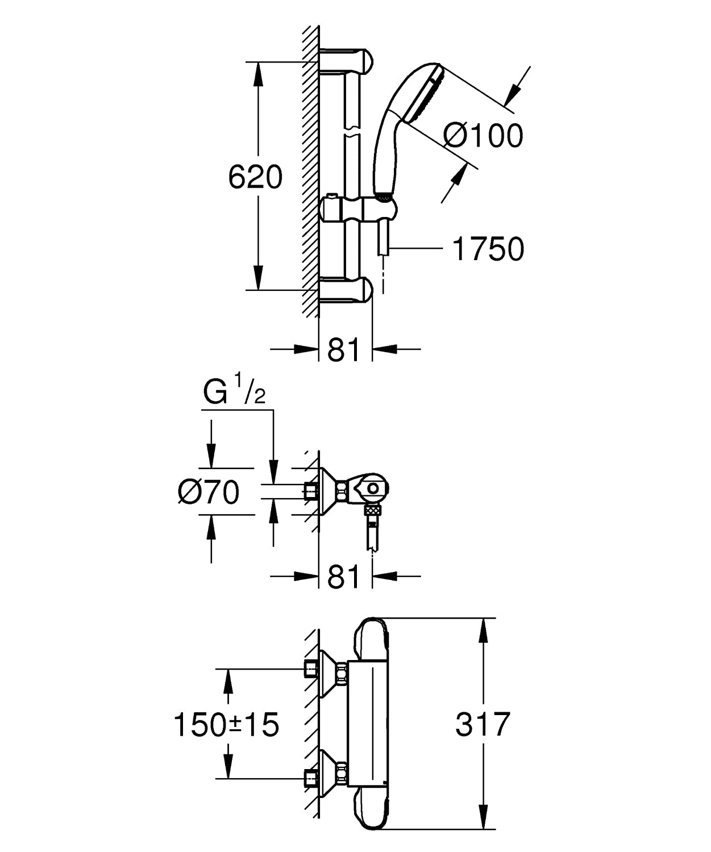 GROHE 34565001 Grohtherm 800 Mitigeur thermostatique Ensemble de Douche Chrome