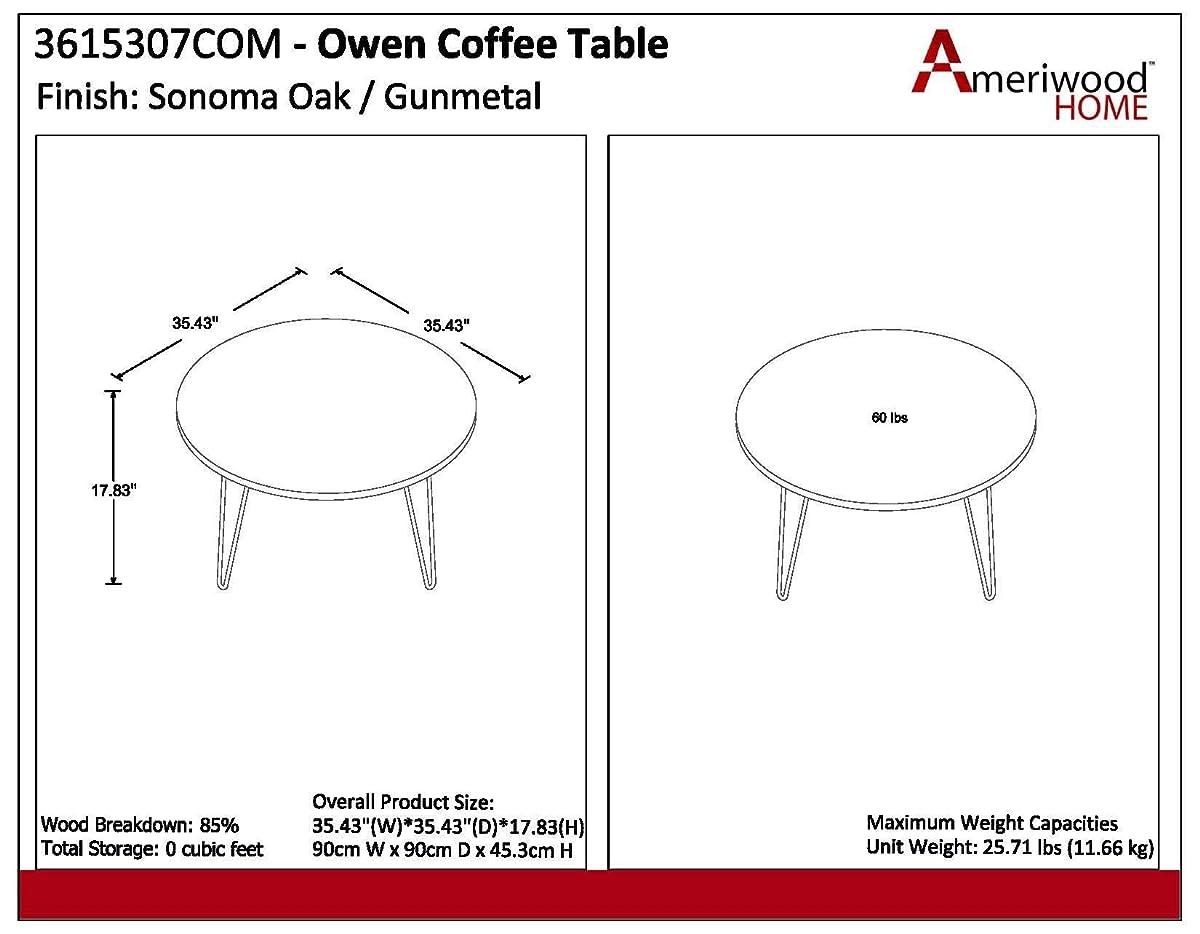 Ameriwood Home 3615307COM Owen Retro Coffee Table