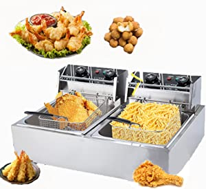 NEWTRY Commercial Deep Fryer 12L Dual-Cylinder Countertop Deep Fryer Dual Baskets 2500W Stainless Steel Professional Commercial Frying Machine for French Fries Restaurant Home Kitchen