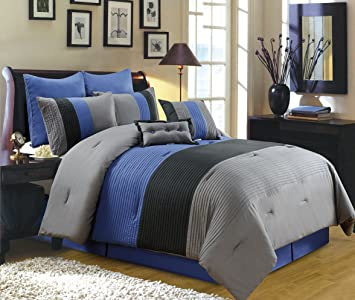 Amazon.com: 8 Piece Luxury Bedding Regatta comforter set Navy Blue ...